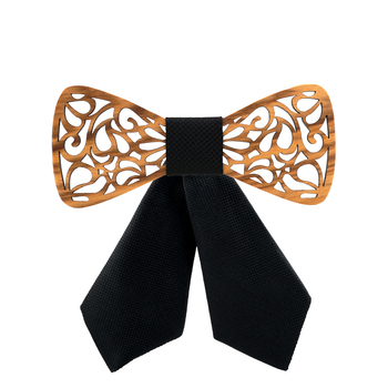 Girl's Carved Wooden Bow Tie 3