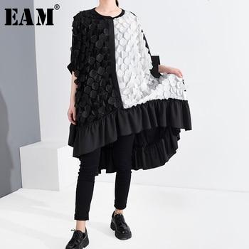 [EAM] Women Black Patch Ruffles Big Size Dress New Round Neck Half Sleeve Loose Fit Fashion Tide Spring Summer 2020 1U293