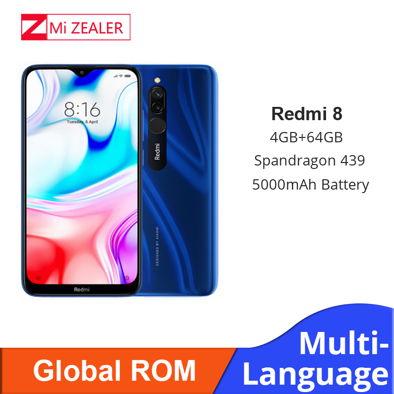 New Global ROM Xiao Redmi 8 Smartphone 4GB RAM 64GB ROM Snapdragon 439 10W Fast Charging 5000 Mah Battery Cellphone