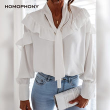 HOMOPHONY White Blouse Women Office Ladies Elegant Ruffle Long Sleeve Peplum Solid Blouse Autumn Sexy Women Tops And Blouses
