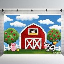 Arrière plan de thème de ferme de dessin animé pour photographie denfants, bannière de fête danniversaire, arrière plan de photographie danimaux de grange rouge bleu ciel blanc