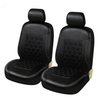 2PC Football Pattern Durable Car Seat Front Covers Protector SUV Truck Cushion Detachable with Headrest cover Black