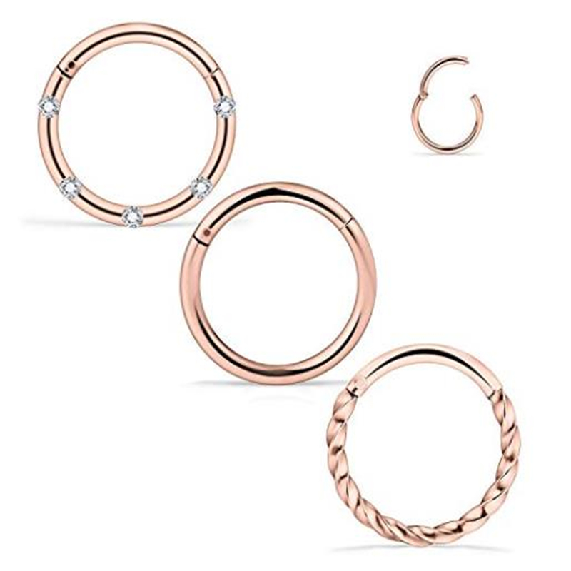 316L Stainless Steel CZ Nose Ring Hoop Cartilage Earring Septum Clicker Piercing