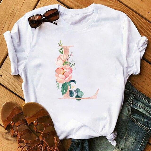 Maycaur New Female T-shirts Pink Letter Flower Women T Shirts Harajuku Fashion Thin Section Tees Tops Clothes 90s Kawaii Shirts