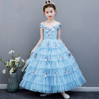 Baby Girl Party Dress Ball Gowns For Teenage Baby Girl Birthday Piano Costume Blue Performance Clothing Elegant Flower Girl
