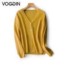 VOGGIN Cashmere cardigan sweater women 2020 V neck full sleeves Winter Warm Soft Cardigan basic top Knitting wear new arrival