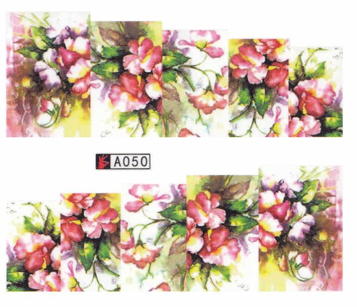 1 Lembar Dicampur Stiker Kuku Desain Seni Bunga Kecantikan Wanita GLITTER BUNGA Air Transfer Stiker Slider Membungkus Dekorasi Manikur