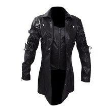 Chaqueta de cuero para hombre impermeable de invierno largos abrigos de piel sintética para hombre chaquetas de cuero para motocicleta ropa chaqueta negra gótica con cremallera