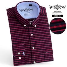 Long-Sleeves Cloth Shirt Men Spring Business Oxford Plaid Stripe Casual Slim-Fit 60%Cotton