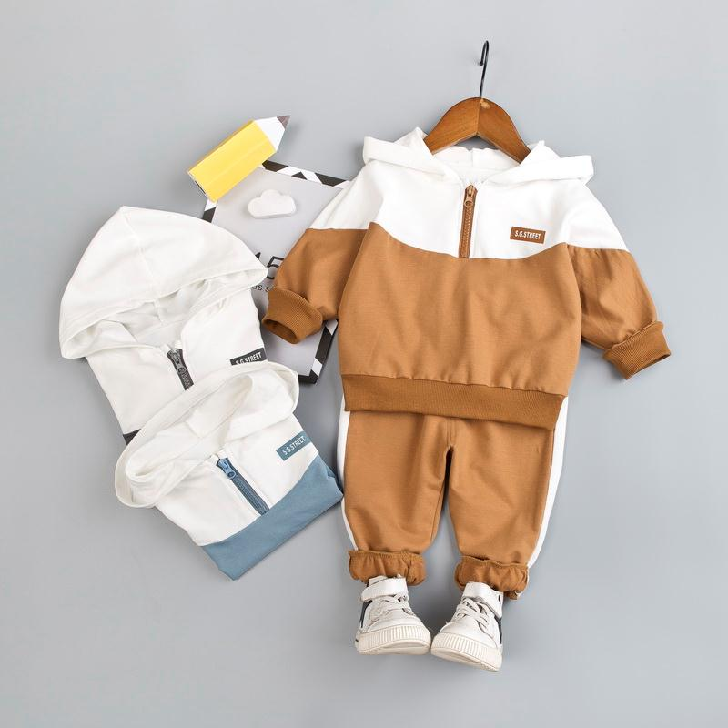 Boys' Clothing Hooded Tracksuit For Baby Boy Clothes Set Patchwork Sport Suit Kid Zipper Jacket + Sweatpants Children Clothing