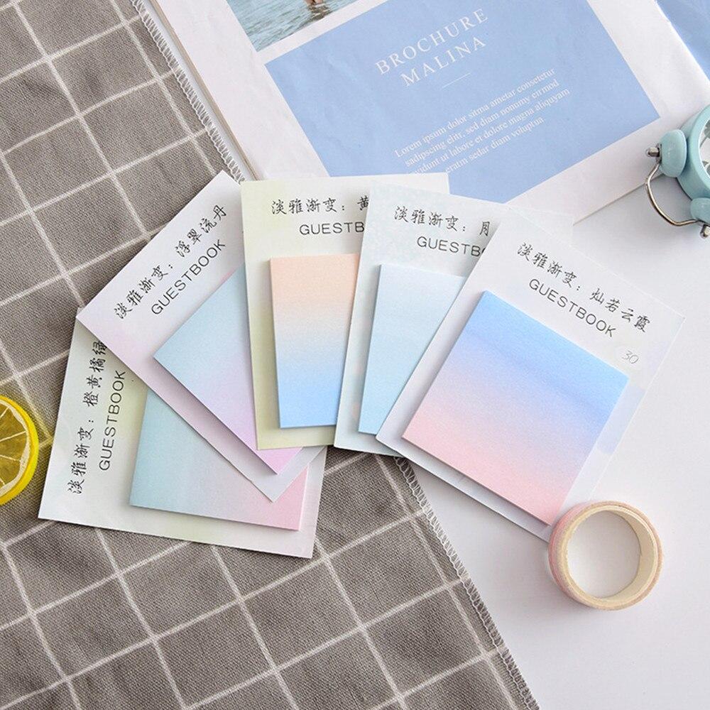 Творческий градиент Цвет бумага из блакнота для бумаги для заметок на клейкой основе милый блокнот размещено это к сведению корейские канц...