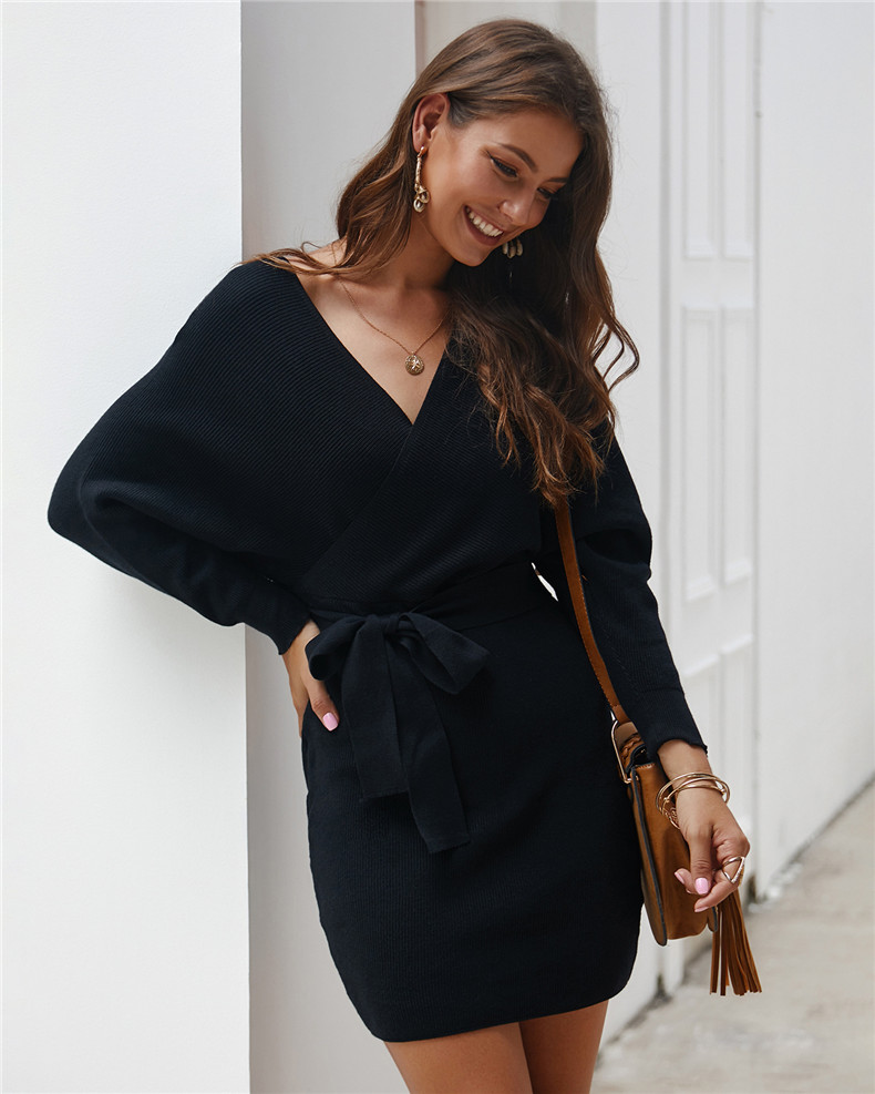 Long Sleeve Sashes Tied Knitted Wrap Sweater Dress 7