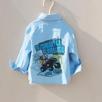 Fashion Boys Shirts Autumn Long Sleeve Tops Turn-down Collar Cartoon Clothes Letter Print White Shirt for Children Teen Clothing