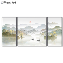Pure Hand-Painted Chinese Style Mountain and Lake Ink Landscape Painting on Canvas for Decor Group Gold Landscapes Oil Paintings
