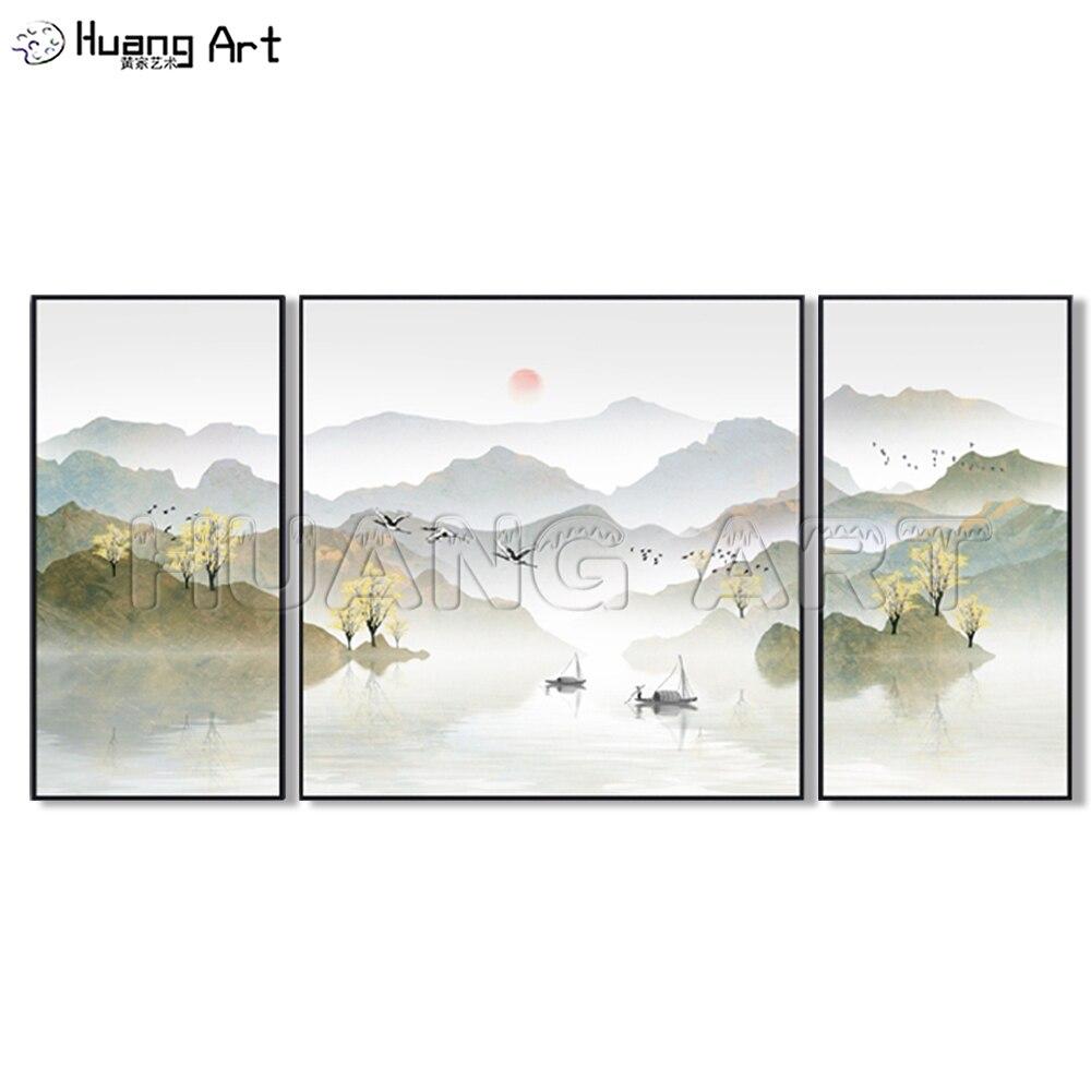 Reine Hand Gemalt Chinesischen Stil Berg und See Tinte Landschaft Malerei auf Leinwand für Decor Gruppe Gold Landschaften Öl gemälde
