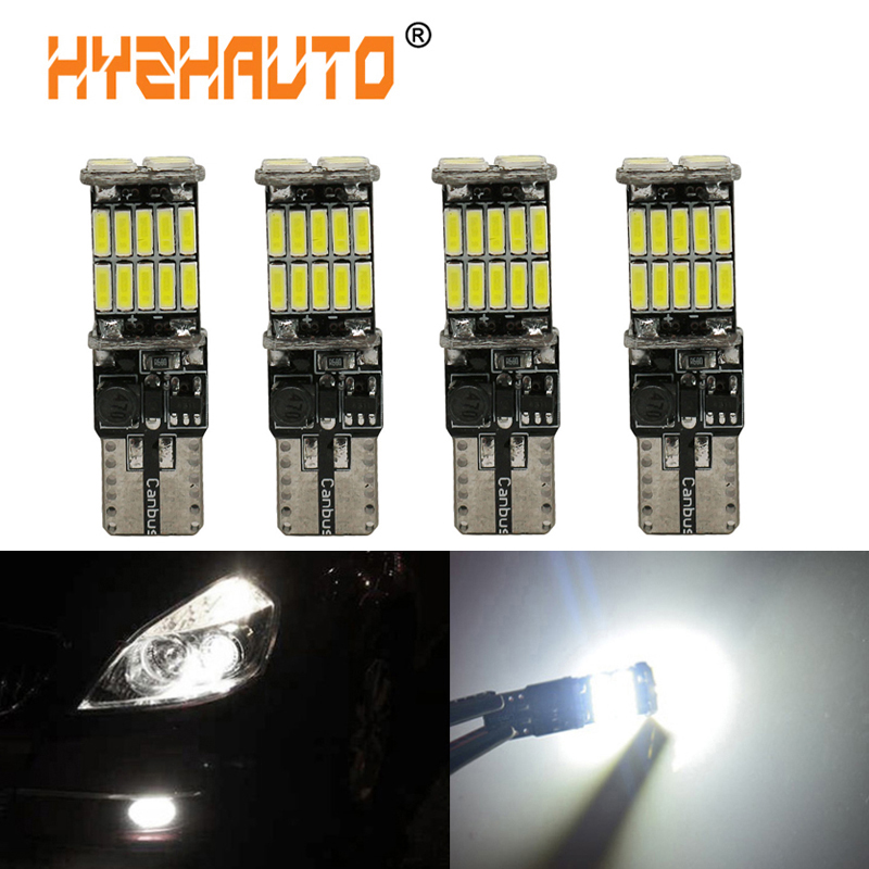 HYZHAUTO 4Pc <font><b>T10</b></font> <font><b>W5W</b></font> <font><b>Canbus</b></font> Car LED lights 194 501 Bulbs 26 SMD <font><b>4014</b></font> LED Clearance Lights Auto License Plate Light No Error 12V image