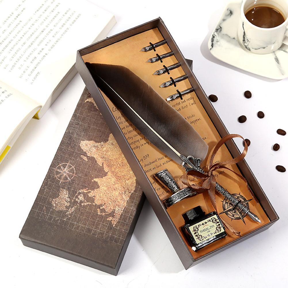 Luxury Fountain Pen Set Colorful Vintage Feather Pen Classic Calligraphy Ink Pens Dip Quill For Student Writing Pen Gift Box Set
