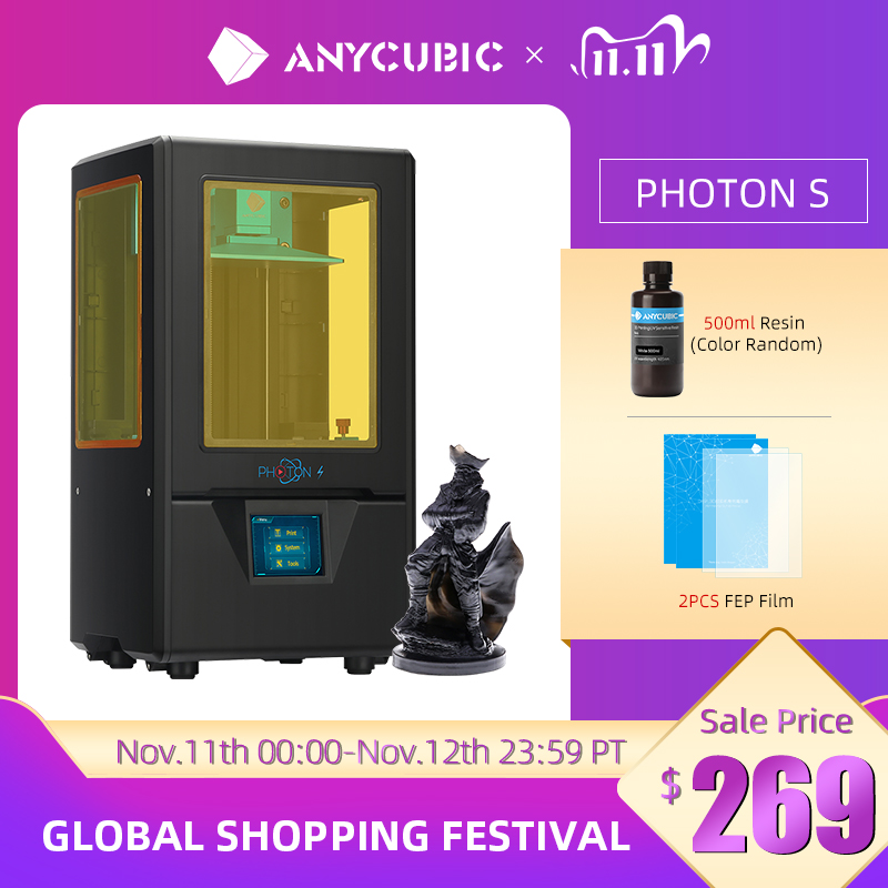 ANYCUBIC Photon S 3D Printer, UV LCD Resin Printer with Dual Z-axis Linear Rail & Upgraded UV Module