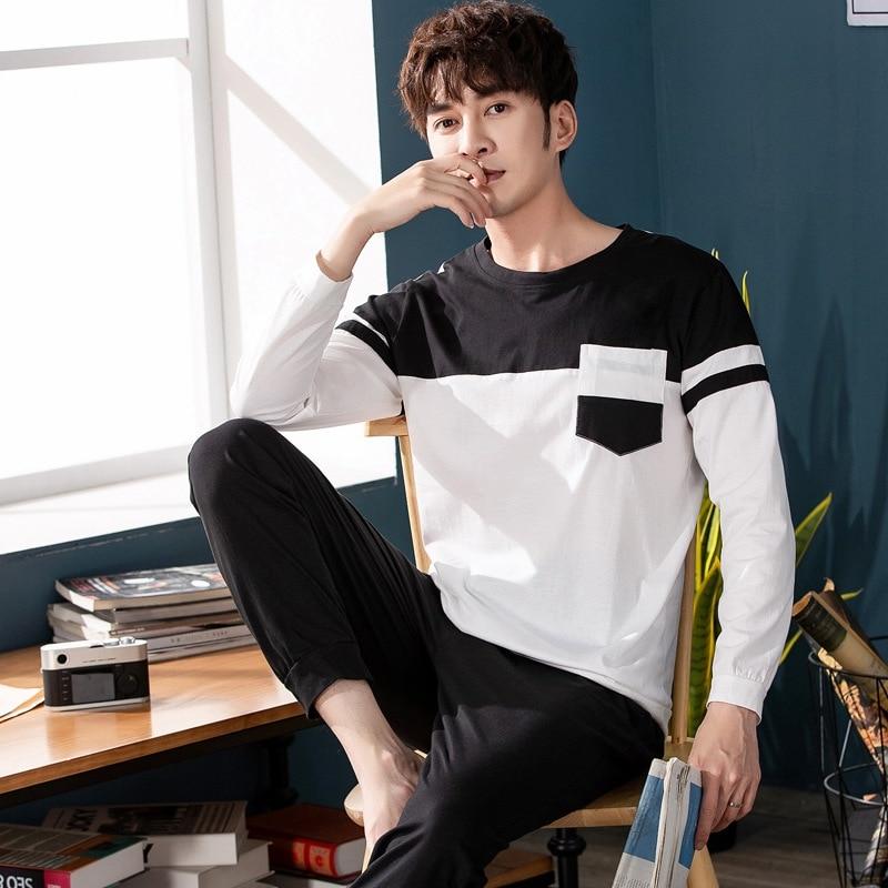2019 Autumn High Quality 100% Cotton Long Sleeve Pajama Sets For Men Sleepwear Underwear Male Loungewear Homewear Home Clothes