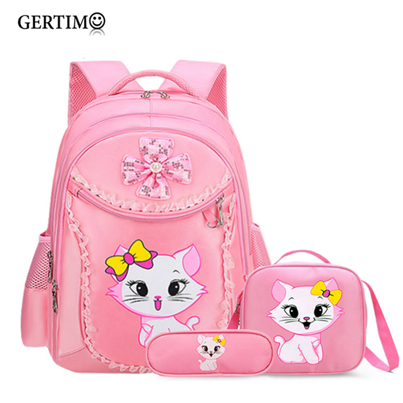 Children Orthopedic Cartoon Backpack Princess Cat Elementary Beautiful School Supplies Bags For Girls Kit Set;sac Ecole Enfant