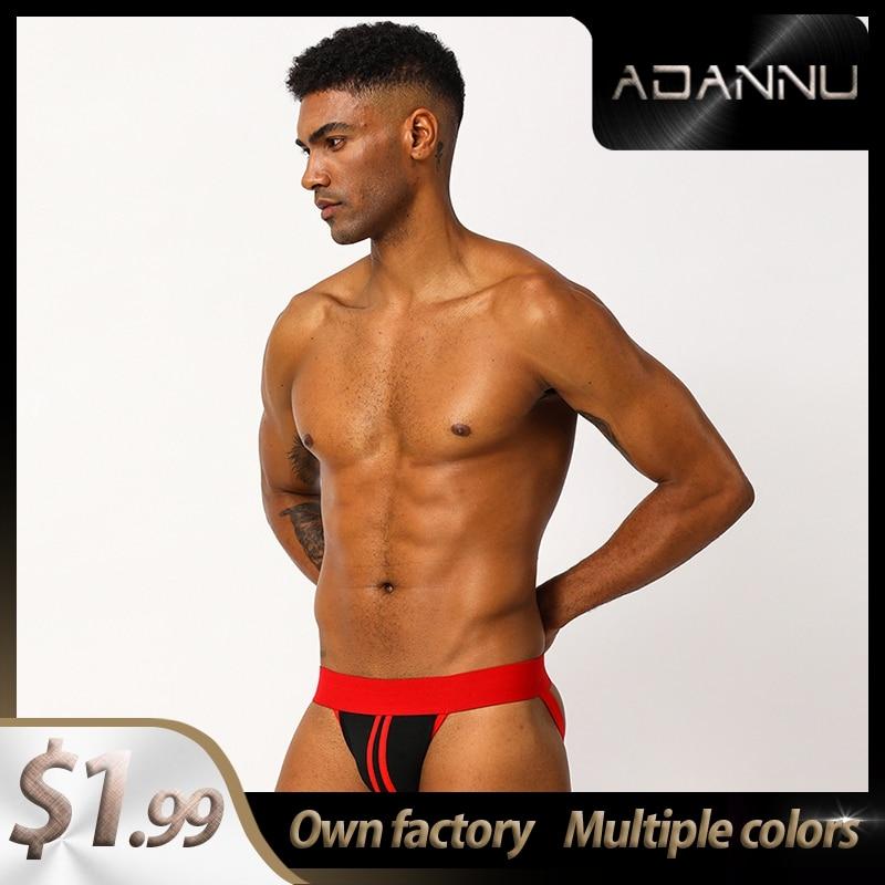 2020 New Spandex Low Waist Gay Men Sexy Underwear Thong Men Jockstrap Print Gay Thongs Mens Thongs And G Strings Gift BP.166