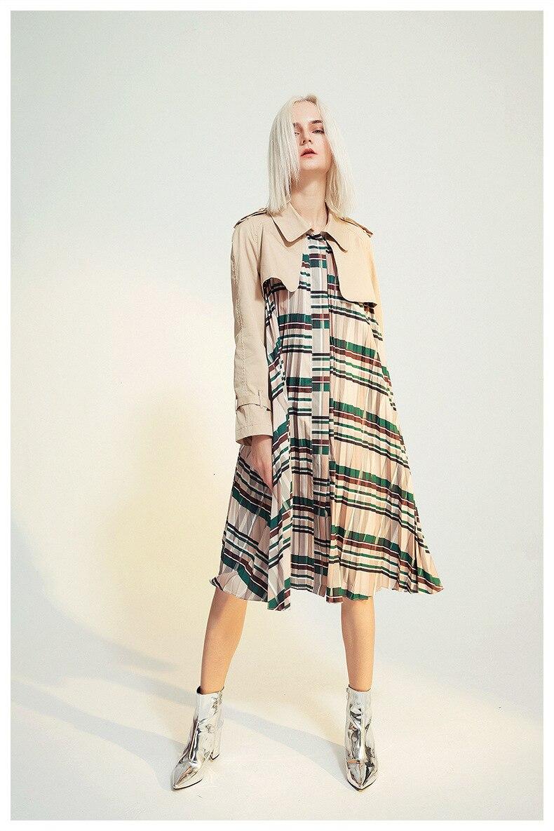 [EAM] Women Belt Pleated Hit Color Trench New Lapel Long Sleeve Loose Fit Windbreaker Fashion Tide Autumn Winter 19 1B096 15
