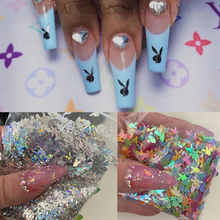 20g Rabbit Head Nail Glitter 3D Laser Holographic Cute Bunny Nails Sequins Flakes Pvc Loose Acrylic Tips Accessories Decoration