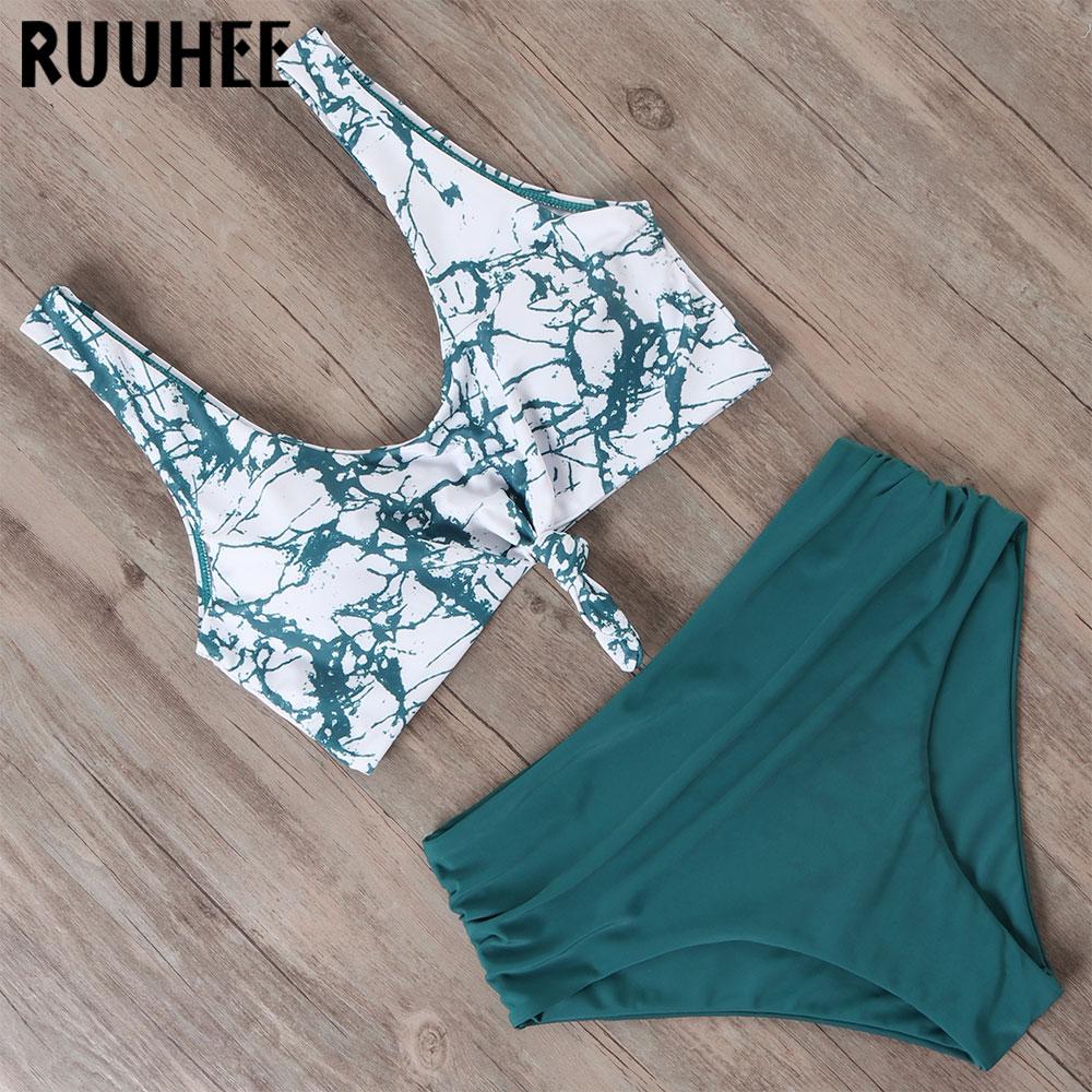 RUUHEE Swimsuit Women Bikini 2020 mujer Swimwear High Waist Bikini Set Sport Tops Bathing Suit Women