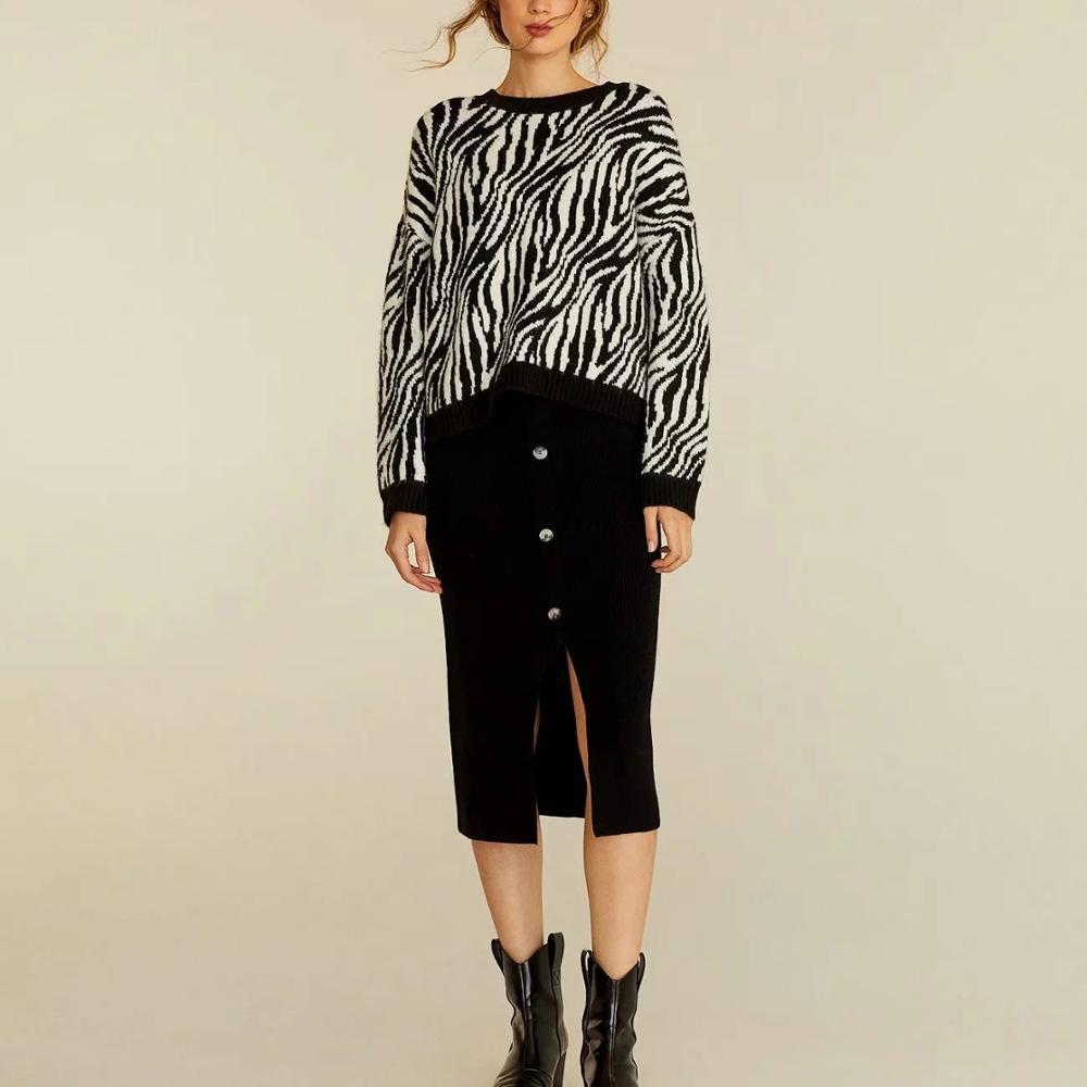 ZA new women autumn winter knitted Zebra pattern sweater black white stripes pullover casual pull women's tops