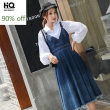 2020 Spring Women Midi Denim Strap Dress and Stand Collar Long Sleeve White Shirt Two Piece Set High Waist Tassel Jeans Dress(China)