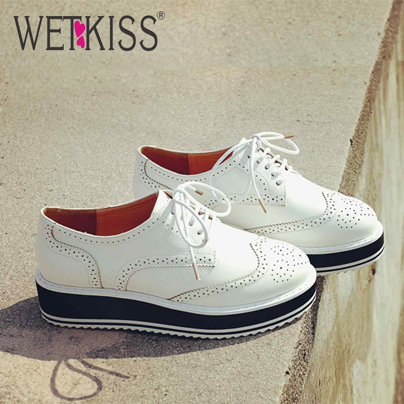 wetkiss Round Toe Platform Flats Rubber Shoes Lace Up Shoes Super Cozy Leisure Shoes Casual Shoes New Fashion Spring 2020