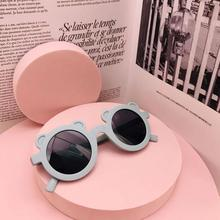 Kids Sunglasses Frame Round Baby Children Boy Cute Cartoon for Street Shades W2O7 Bear-Shape