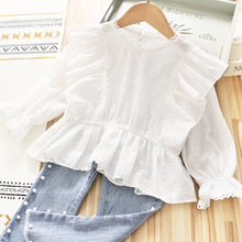 2021 Spring Baby Girl Shirt Flared Sleeve Lace