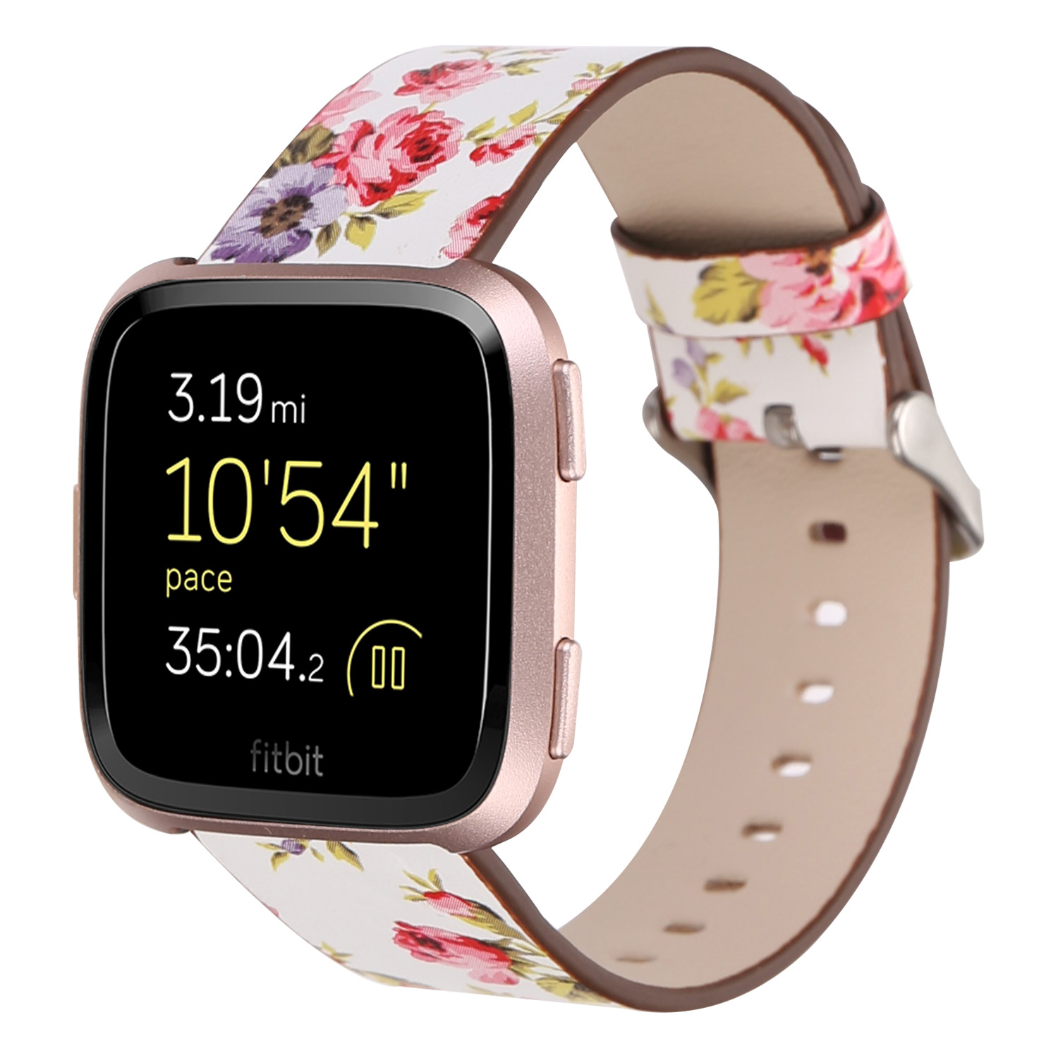 Suitable For Fitbit Versa Leather Watch Strap Fitbit Genuine Leather Pastoral Style Printed New Style Floral-Print Watch Strap