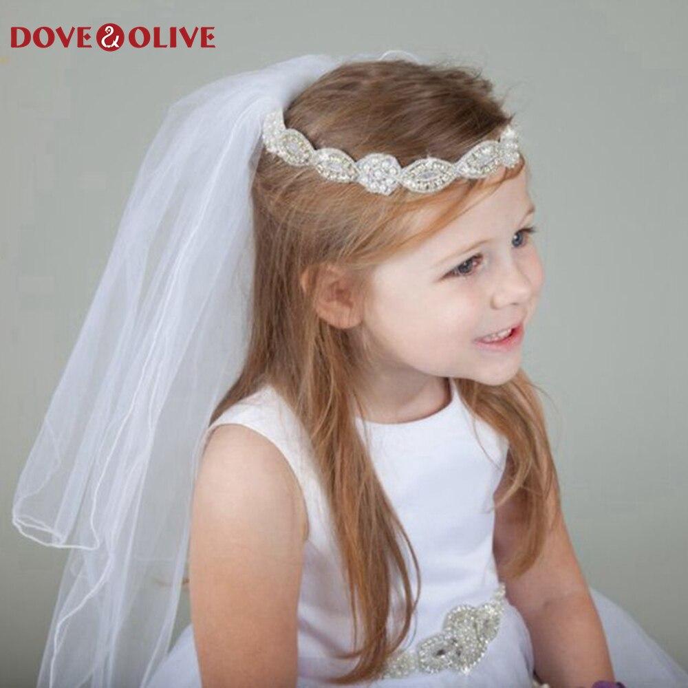 Novo de Alta Qualidade Branca Casamento Elegante Tule Curto Véus Veu Noiva Longo 1st Comunhão Flor Menina Véu um Metro Comprimento 2020