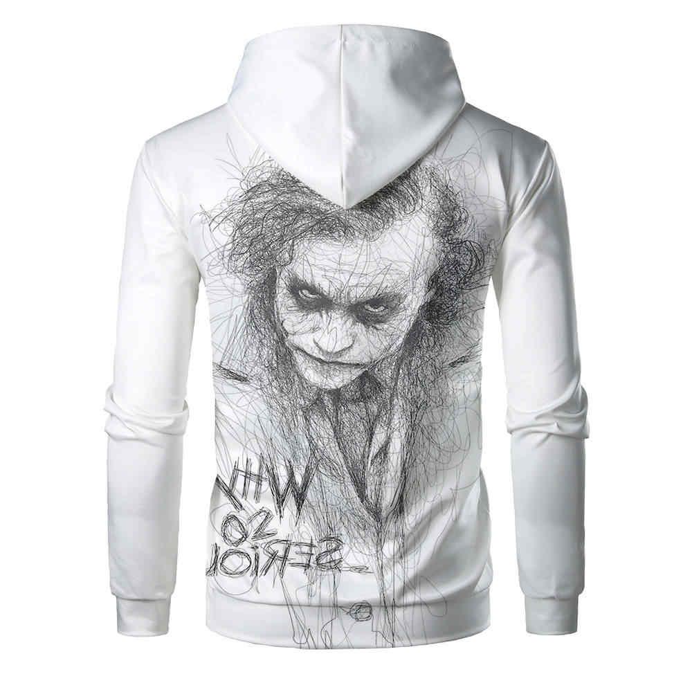 ใหม่สีขาว JOKER เสื้อผู้ชาย Hoodies 3D พิมพ์ Hoodie hip hop ชายตลก Tracksuits เสื้อผ้า Harajuku Tops