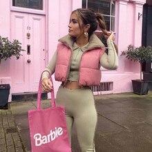 Stylish Sweet Pink Double Wear Drawstring Cropped Vest Coat Women 2021 Fashion Stand Collar Zipper Waistcoat