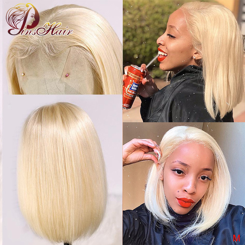 Pinshair 613 Blonde Short Bob Wigs Peruvian Pre Plucked Non-Remy Lace Front Human Hair Wigs Straight 13*4 Lace Front Wig 150%
