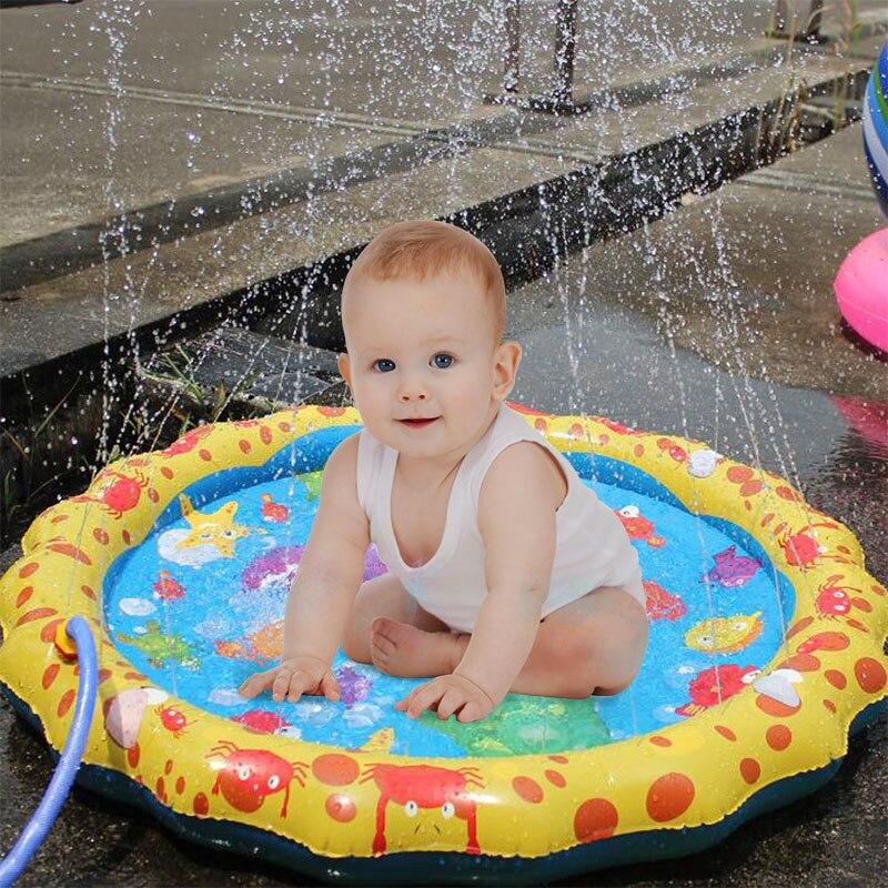 Outdoor Swimming Pool Baby Splash Water Mats Spray Mat Kids Fun Water Playing Swim Pool Outdoor Bathroom Toys #