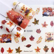 LCJ 1 PC Herfst Bladeren/Flamingo/Paard/Bloem Water Transfer Nail Art Sticker Beauty Decal Nails Art decoraties(China)