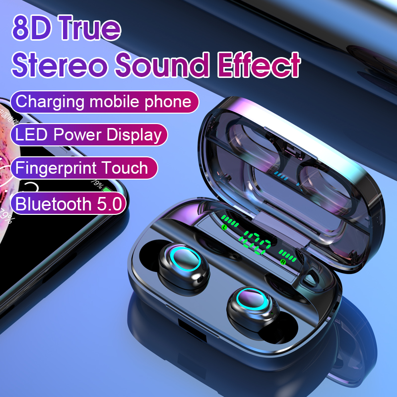 <font><b>TWS</b></font> Bluetooth 5.0 Earphones Wireless Headphones 3500mAh Charging 8D Stereo Sports Waterproof Earbuds Headsets With Microphone image