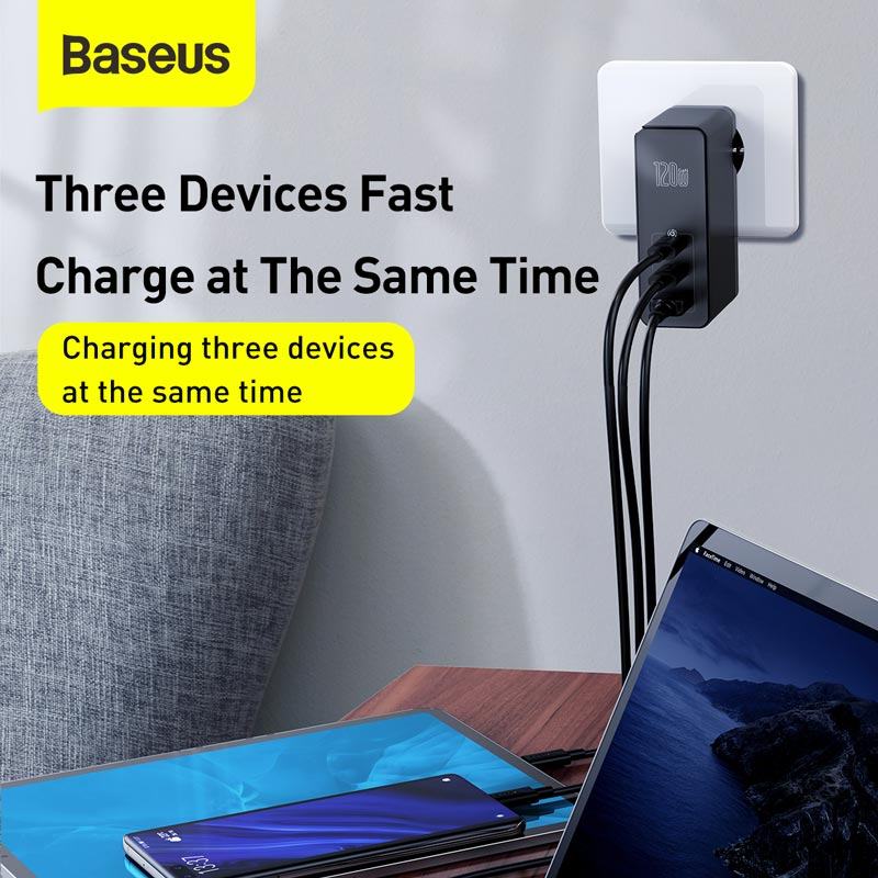 Baseus 120W GaN SiC Charger PD Type C Fast Charger Quick Charge 4.0 QC 3.0 USB C Charger Fast Charging For iPhone Xiaomi Macbook