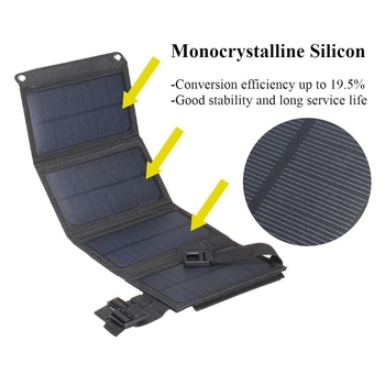 15W 5V 2A Sun Power Usb Foldable Solar Panel Camping Hiking Phone Charger-Black 2