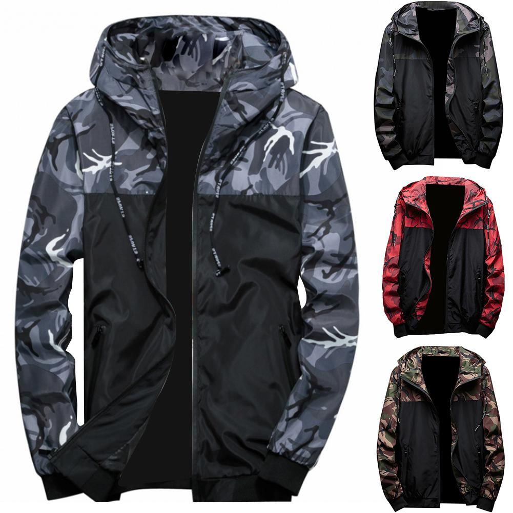 Hot Spring Autumn Men's Jackets Camouflage  Hooded Coats Casual Zipper Male Windbreaker Men Clothing Jacket Hooded Zipper Coat