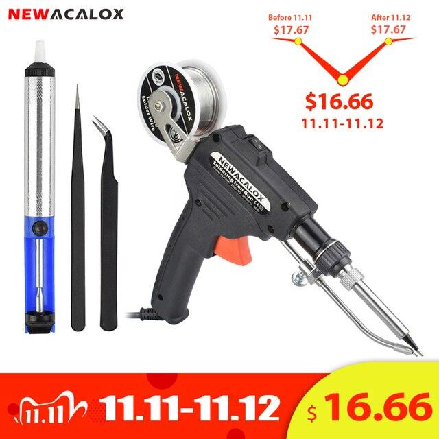 NEWACALOX EU/US 60W Hand held Soldering Iron Internal Heating Automatically Send Tin Gun with Power Switch Solder Gun Tool Kit