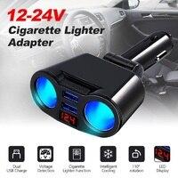 Adaptador universal do isqueiro do cigarro dc 12 v/24 v 2 soquete divisor multi tomada dupla usb carregador de carro com voltímetro led