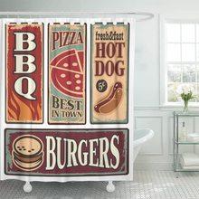 Vintage carteles de comida rápida Retro Ads colección Pizza ducha cortina impermeable tela 72x78 pulgadas Set con ganchos
