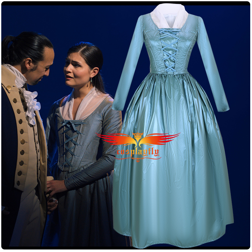 Anime Musical Rock Opera Hamilton Stage Dress Concert Elizabeth Schuyler Cosplay Costume  Women Outfit Scarf Blue Gown Halloween