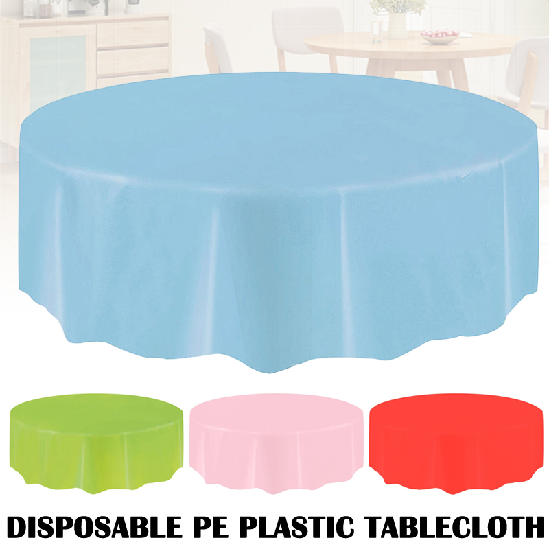 Spot Plastic Circular Table Cloth Cover Disposable Party Home Wipe Clean Tablecloth QP2