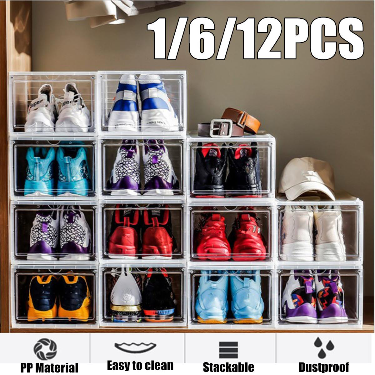 Shoes Rack 1PC Shoe box Thickened  dustproof  Shoe Boxes Storage Organizer  Combination Shoe Cabinet Clamshell Shoes Drawers|  - title=